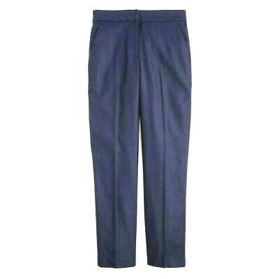 J.Crew Pants Stretch Straight Linen H7718 Navy Blue 14 New