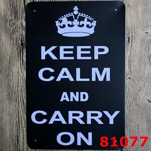 Metal Tin Sign KEEP CALM AND CARRY ON  Pub Home Vintage Retro Poster Cafe ART