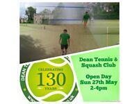 Dean Tennis & Squash Club - Open Day - Sun 27th May - 2-4pm