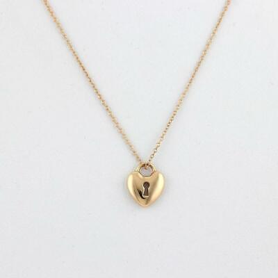 Tiffany & Co. Heart Padlock 18k Yellow Gold Pendant & Chain