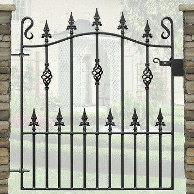 Metal Garden Gate | Wrought Iron Steel Gates | Bow Spear Head Gate | 3ft Opening
