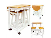 Brand New Kitchen Trolley With Folding Table Top & Stools Is Only £96. Already Built & Can Deliver