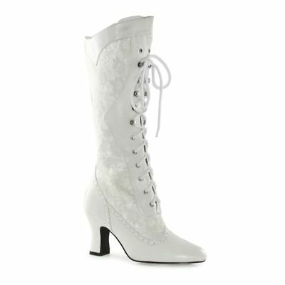 White Lace Victorian Vintage Wedding Bridal Costume Shoes Boots size 7 8 9 10](Costume White Boots)