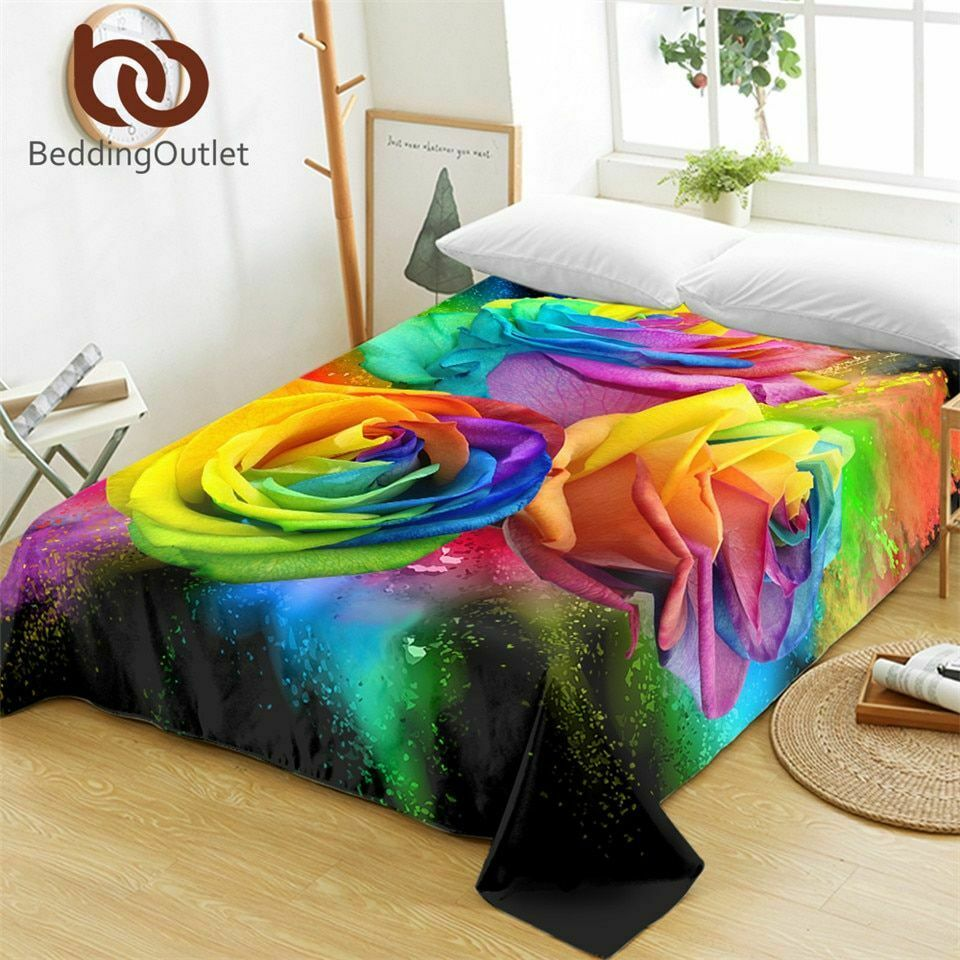 Colorful Roses Bed Sheets For Woman Printed Flat Sheet Flora