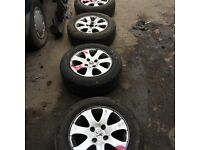 Peugeot 307 set of 4 alloy wheels 4 stud tyre size 195 65 r15