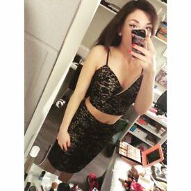 Black&Cream pencil Skirt from Quiz