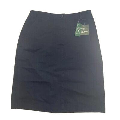L.L. Bean Womens A Line Skirt Navy Blue Twill Back Slit Side Pockets Midi 8 New