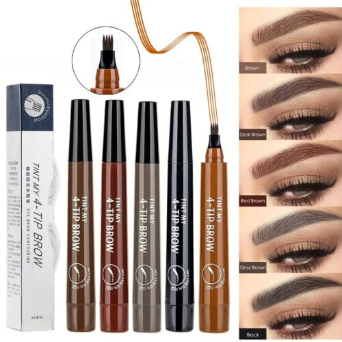 Microblading Eyebrow Pen Waterproof Fork Liquid 4 Tips Long Last Makeup Pencil