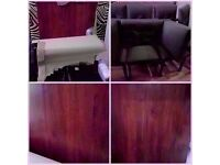 NEW LUXURY UNUSED FAMILY SOLID DARK WOOD 6-8 DINING TABLE & 6 MODERN DINING CHAIRS FAMILY CHRISTMAS