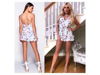 Blue floral print summer playsuit size 6-14 £20