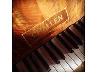 Circassian Walnut Art Deco Challen upright piano THE PIANO PAVILION