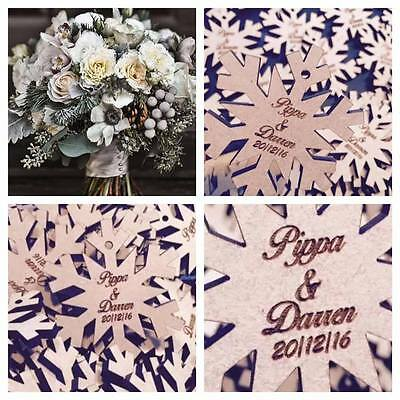 Rustic Beautiful winter wedding idea 80 x snowflakes / personalised table decor