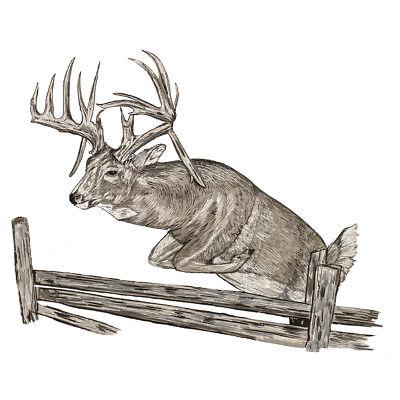 Jumping Vinyl Decal Sticker (Deer Jumping Over Fence Vinyl Decal Sticker - Car Truck SUV Tumbler)