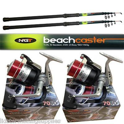 2 X 12FT TELESCOPIC BEACHCASTER RODS AND 2 SILK 70 REELS SET SEA BEACH CASTER
