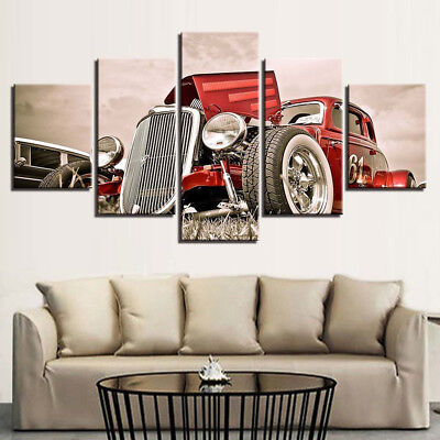 Red 5 Panels (Vintage American Hot Rod Roadster Red 5 Panel Canvas Print Wall Art Home Decor)