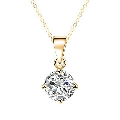 """CZ Round Solitaire Cubic Zirconia 2ct Gold Plated Pendant Necklace 17""""+2""""N48"""
