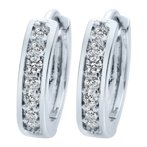 925 Sterling Silver Pt Cubic CZ Hoop Huggie  Earrings 15mm Men Women E48-1 Earrings