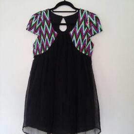 Pure silk mini dress by Suzie Wong UK size 8-10