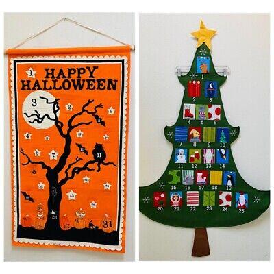 Lot 2 Pottery Barn Kids Large Felt Advent Calendars Halloween and Christmas Tree