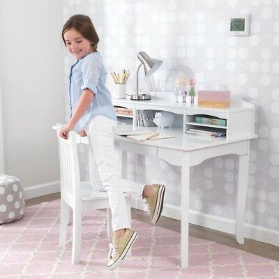 Kidkraft 26705 Kids Children's White Wood Avalon Desk Hutch Table & Chair NEW - Kidkraft Avalon Child Desk