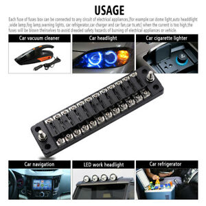 12-Way-DC-32V-Circuit-Car-Trailer-Boat-Blade-Fuse-Box-Block-Holder-w-Cover-S8