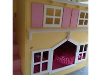 Girls cottage style custom made bunk beds or bed with play are
