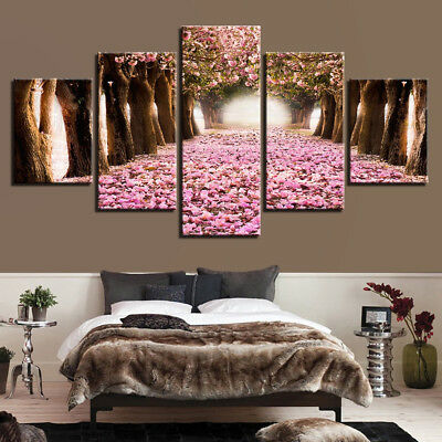 - Cherry Blossoms Flowers Woods Path Trees 5 Panel Canvas Print Wall Art Poster