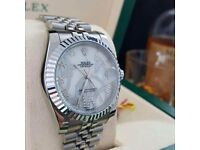 Silver Rolex Datejust, Jubilee strap white Faces, Roman Numerals, Rolex Bagged, Boxed with Paperwork