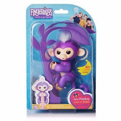 Fingerlings Interactive Baby Monkey   Mia  Purple W  White Hair    New   Sealed