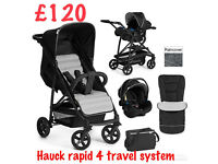BRAND NEW IN BOX HAUCK RAPID 4 TRAVEL SYSTEM BLACK SILVER GREY 2 IN 1 PRAM PUSHCHAIR COSYTOES BAG