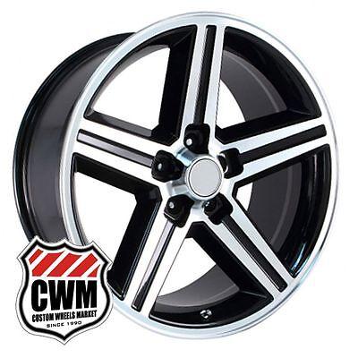 "18 inch 18x8"" Iroc Z Camaro Black Machined Replica Wheels Rims 5x4.75"" 5x120.65"