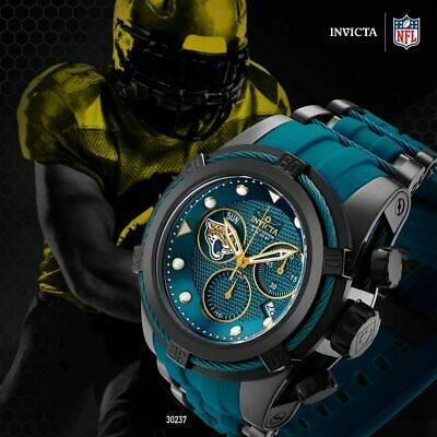 Invicta 52mm Bolt Zeus NFL OFFICIAL JACKSONVILLE JAGUARS z60 Chrono Strap Watch