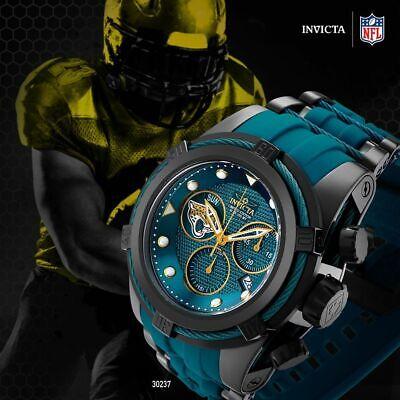 Invicta 52mm Bolt Zeus NFL OFFICIAL JACKSONVILLE JAGUARS z60 Chrono Strap Watch