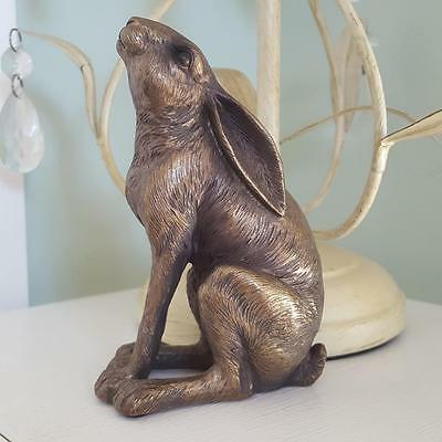 LEONARDO REFLECTIONS BRONZED MOON GAZING HARE ORNAMENT GIFT BOXED FIGURINE
