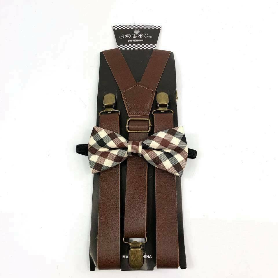 Brown Leather Suspender and Plaid Bow Tie Set Tuxedo Wedding