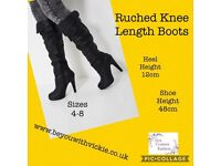 Ruched Knee Length Boots