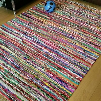 Multicolor Handmade Chindi Rug Shabby Chic Runner Mat Area Rug Recycled 60x90cm