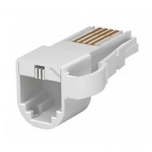RJ11 to BT Telephone Phone Socket Plug Adaptor Converter US to UK 'White'