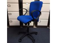 Blue Verco op office chair- fixed arms
