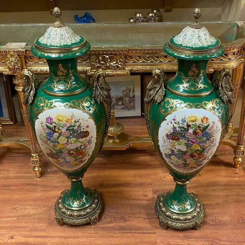 Pair of Late 20th Century French Antique Green Porcelain Bronze Serves Urns
