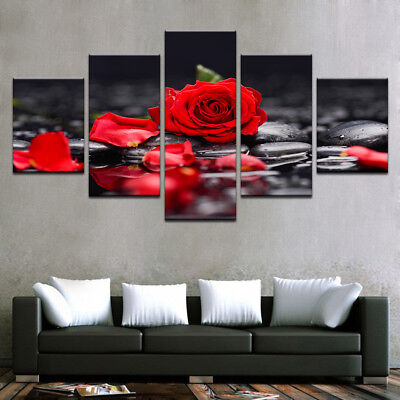Red 5 Panels (Red Rose Flowers Stone Petal Painting 5 Panel Canvas Print Wall Art Home Decor)