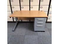 10 x Oak Straight Desk- 1600mm x 800mm & Drawers