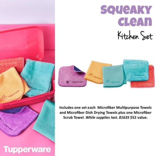 NEW tupperware squeaky clean kitchen towel set