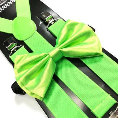 Neon Lime Green Bow Tie & Suspender Set Tuxedo Wedding Suit Formal  Accessories ](Lime Green Wedding)