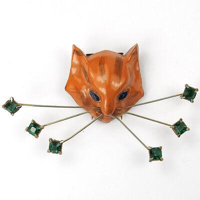 Coro 'Henry Rosenblatt' Enamelled Cat with Six Emerald Whiskers Pin Clip