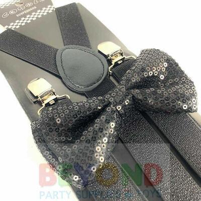 SUSPENDER & BOW TIE Matching SET Tuxedo Wedding Suit US SELLER Black Sequin