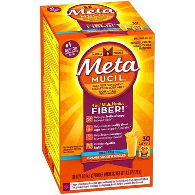 Metamucil MultiHealth Fiber Powder Packets Sugar Free, Orange Smooth, 30Ea (Kosher Orange Sugar)