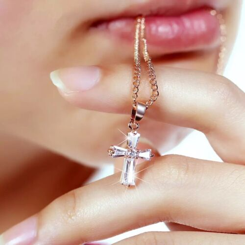 Womens Rose Gold or Silver Plated Small Cross Cubic Crystal Pendant Necklace 101 Fashion Jewelry
