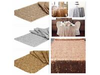 Silver sequin table runners