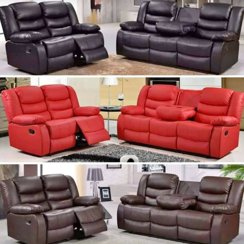 Janine Luxury Bonded Leather Recliner Sofa Suites With Drink Holders